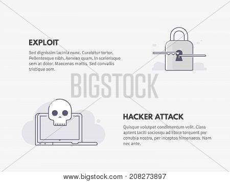 Exploit and Hacker attack. Cyber security concept. Vector thin line illustration design.