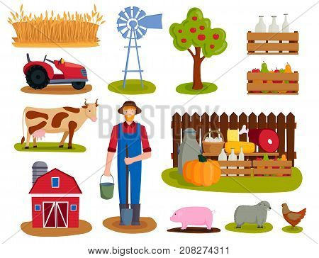 Farm icon vector illustration. Nature food harvesting grain agriculture. Different animals characters. Modern flat graphic growth cultivated design.