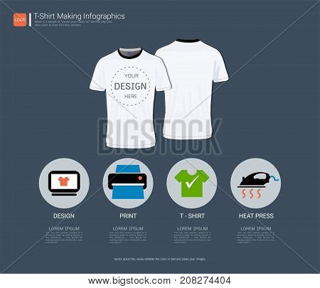 T-shirt sport design, Process infographic with four steps or options for your design,  Front and back view jersey uniform, Slim fit apparel mock up, Easy to modify photo file to add logo to shirt.