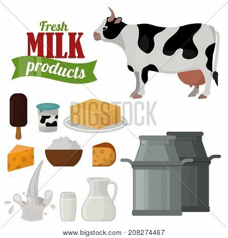Dairy milk products organic drink healthy cream vector fresh cheese glass nutrition farm calcium breakfast grocery. Fresh meal ingredient gourmet protein snack.