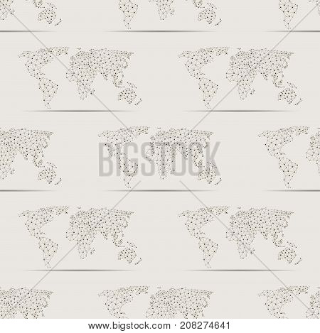 Maps globe Earth contour seamless pattern background silhouette world mapping texture vector illustration. International art worldwide global ocean cartography. Abstract land country continent