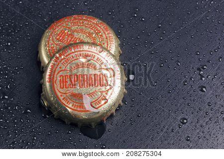 Bottle Caps Of Desperados Beer.