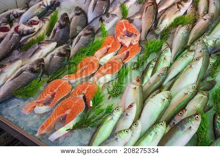 Sale Of Fish And Seafood In The Eastern Markets In Turkey
