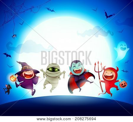 Halloween Kids Costume Party. Group of kids in Halloween costume jumping in the moonlight. Blue background.