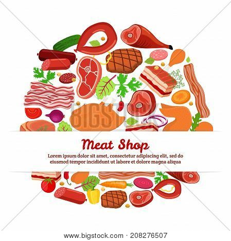 Meat set with vegetables - bacon, chicken, ham, smoked pork, jamon, hamon, cucumber, tomato, carrot, chard, parsley, onion. Made in cartoon flat style. Vector illustration