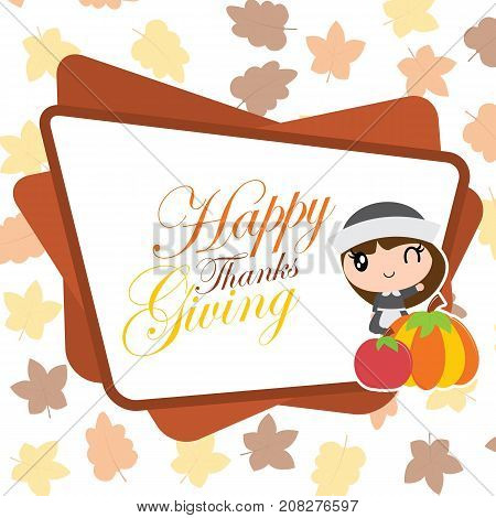 Cute pilgrim girl and pumpkin frame on maple leaves background vector cartoon illustration for thanksgiving's day card design, wallpaper and greeting card