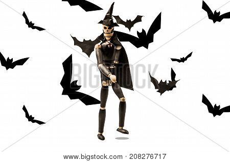 puppet scary dead man launches bats. Skeleton surrounded by black bats