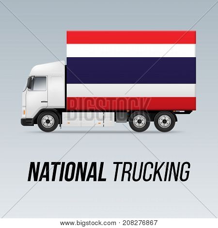 Symbol of National Delivery Truck with Flag of Thailand. National Trucking Icon and Thail flag