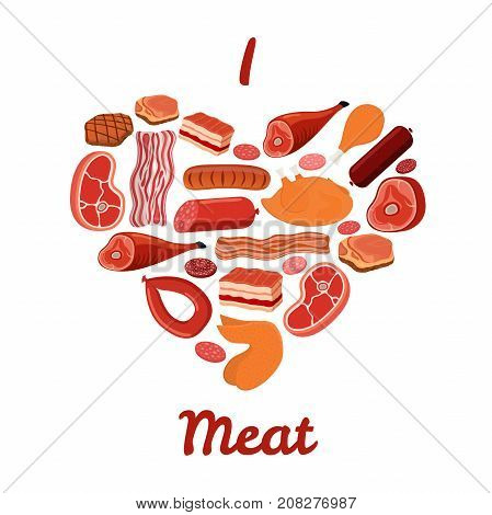 I love meat set. Bacon, chicken, ham, smoked pork illustration. Made in cartoon flat style. Vector