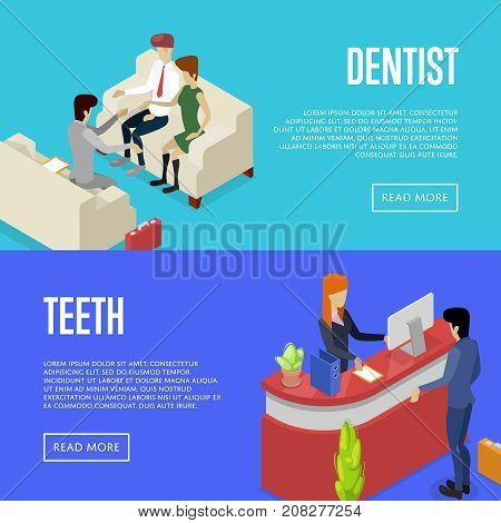 Corporate office life isometric posters. Team workspace concept with busy business people, company reception stand, business meeting with clients. Together professional occupation vector illustration