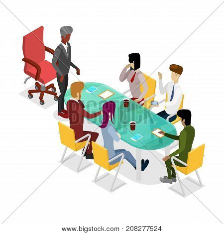 Business meeting isometric 3D icon. Corporate office life, teamwork and idea generation conceptual vector illustration.
