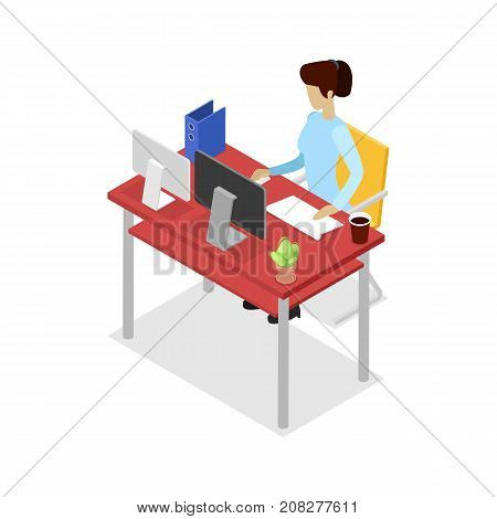 Secretary work on computer isometric 3D icon. Corporate office life, modern workplace, business people conceptual vector illustration.