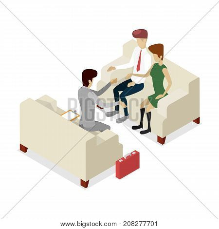 Business meeting with clients isometric 3D icon. Corporate office life, teamwork and idea generation conceptual vector illustration.