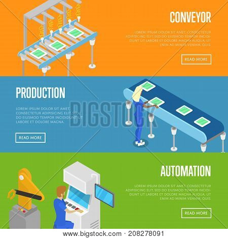 Smart robotic assembly line isometric 3D posters. Industrial goods production, mechanical conveyor with workers, manufacturing process. Factory automation, belt production line vector illustration.