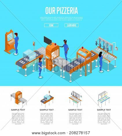 Mechanical conveyor isometric 3D poster. Industrial goods or food production, assembly line with workers, manufacturing process. Factory automation, belt production line vector illustration.