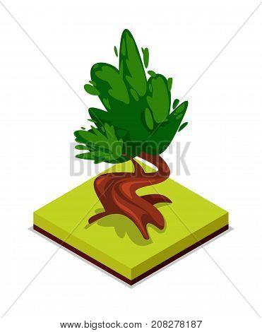 Green chestnut tree isometric 3D icon. Public park decorative plant and green grass vector illustration. Nature map element for summer parkland landscape design.