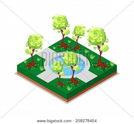 Water pool in park isometric 3D icon. Public park decorative plant and green grass vector illustration. Nature map element for summer parkland landscape design.