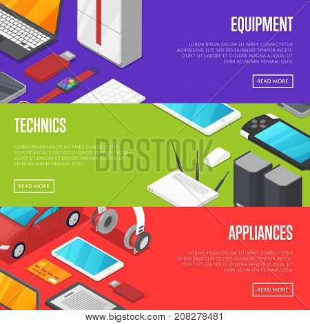 Modern technics and digital appliances set isometric posters. Smart watch, laptop, tablet PC, usb drive, gamepad, mp3 player, wifi router vector illustration. Global social media and communication. poster
