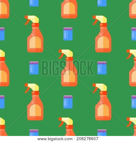 Group of bottles of household chemicals seamless pattern supplies and cleaning housework plastic detergent liquid domestic fluid bottle cleaner pack vector illustration.