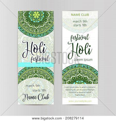 Creative Flyer Banner or Pamphlet design for Indian Festival of Colours Happy celebration.