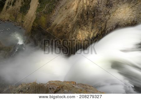 Slow shutter speed of the brink of upper falls on the Grand Canyon of Yellowstone at Yellowstone National Park