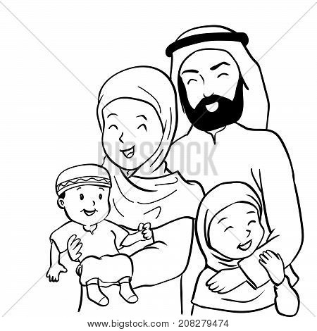 Hand drawn of Happy Muslim family. Father mother son and daughter together. Vector illustration Cartoon design