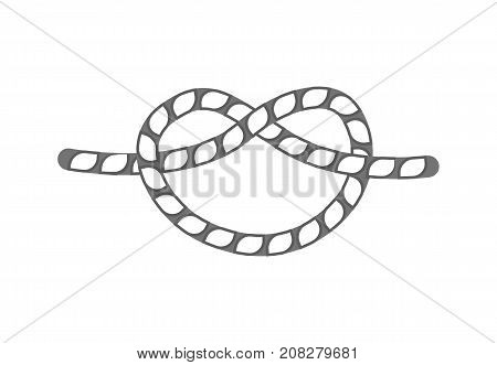 Overhand rope knot icon. Seamless decorative design element, creative handmade isolated vector illustration