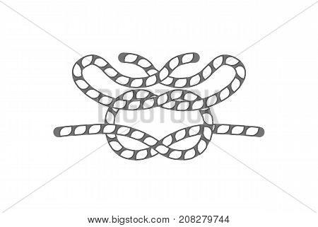 Nautical rope knot icon. Seamless decorative design element, creative handmade isolated vector illustration