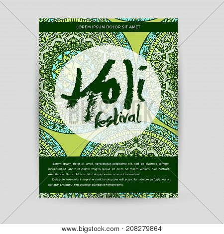 Vector mandala Holi. Happy Holi festival greeting card design with Mandala. Oriental pattern illustration. Islam Arabic Indian turkish