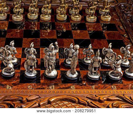 A closeup shot of souvenir chess pieces.