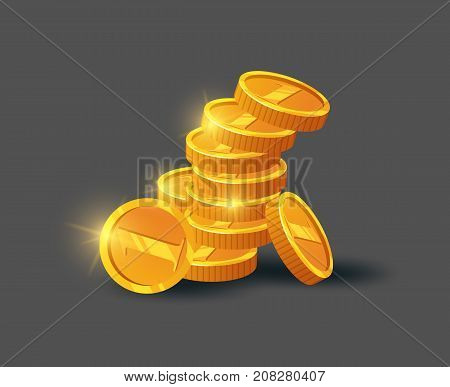 Stack of shiny golden coins icon. Big profit and save money, money making concept, bank deposit, financial success vector illustration in cartoon style.
