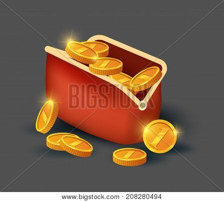 Golden coins in leather purse icon. Big profit and save money, money making concept, bank deposit, financial success vector illustration in cartoon style.