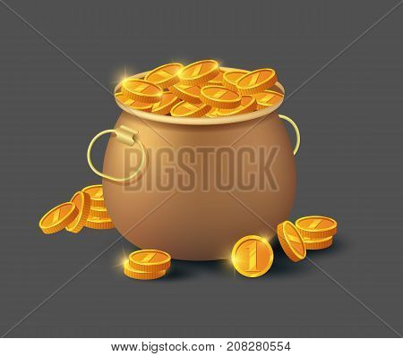 Golden coins in old bronze pot icon. Big profit and save money, money making concept, bank deposit, financial success vector illustration in cartoon style.