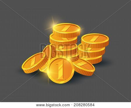 Pile of shiny golden coins icon. Big profit and save money, money making concept, bank deposit, financial success vector illustration in cartoon style.