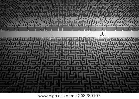 Business strategy pathway concept as a businessman leader running through an opening in a confused labyrinth as a corporate career success metaphor or life path goal with 3D illustration elements.