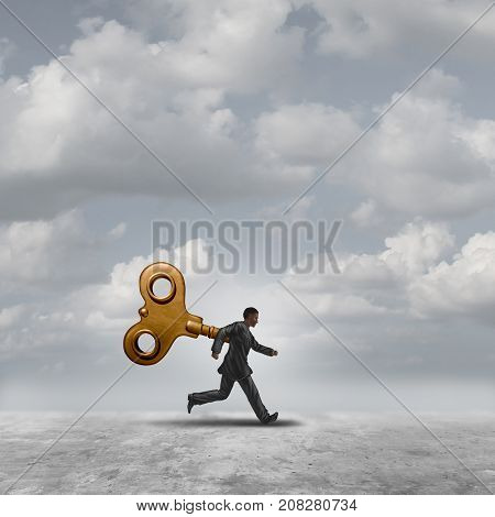 Business wind key running with a windup clockwork or toy mechanism controlling a worker like a robot with 3D illustration elements.