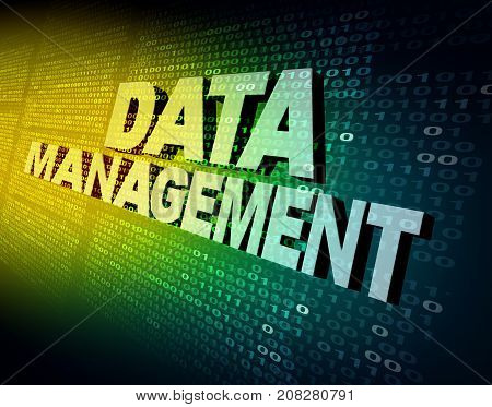 Data management and computing internet analytic database storage and programming technology marketing concept as a 3D illustration.