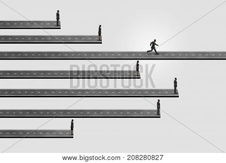 Business people race and businesspeople competition concept as a group of businessmen and businesswomen stopped by a restricted path with one leader running on an open pathway with 3D illustration elements.