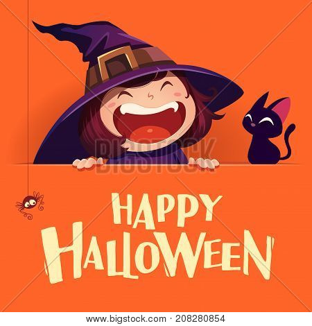 Happy Halloween. Little witch with big signboard. Orange background.