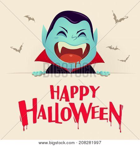 Happy Halloween. Dracula Vampire with big signboard. Retro vintage.