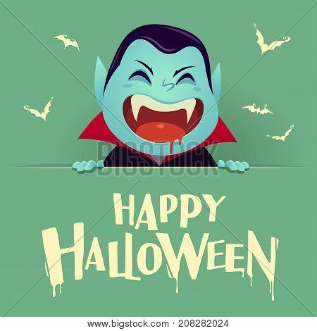 Happy Halloween. Dracula Vampire with big signboard. Retro vintage. Green background.
