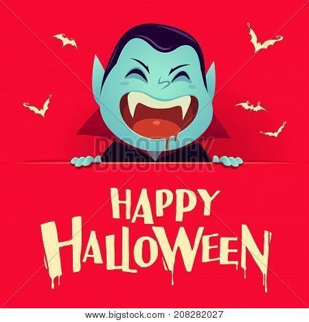 Happy Halloween. Dracula Vampire with big signboard. Retro vintage. Red background.