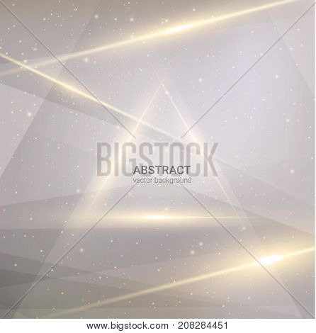 Golden shiny lines vector neutral background with triangle text frame. EPS10