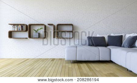 3d rendering image of 2018 wooden shelf on white brick wall. white sofa set on the wooden floor. background for new year festival.