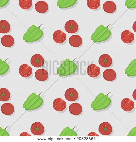Tomatoes seamless pattern background flat color style design organic healthy vegetarian vector illustration. Natural kitchen nutrition wallpaper garden vegetable.