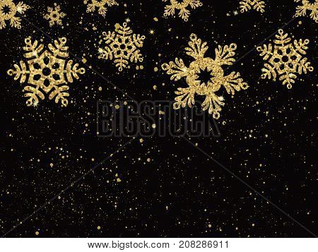 Christmas Background With Shining Gold Snowflakes. Vector