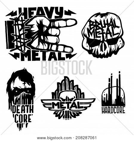Heavy rock music badge vector vintage labels with punk skull symbols. Hard sound sticker print emblem. Creative recording hipster classic template.