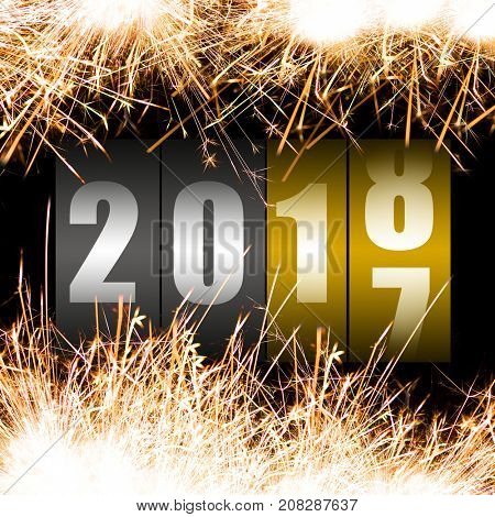 Happy New Year 2018 with sparkles