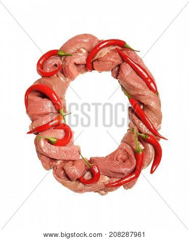 Fresh Meat alphabet. Bacon alphabet. Meat and red chili peppers.