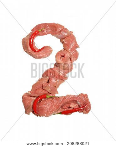 Fresh Meat alphabet. Meat and red chili peppers. Digits